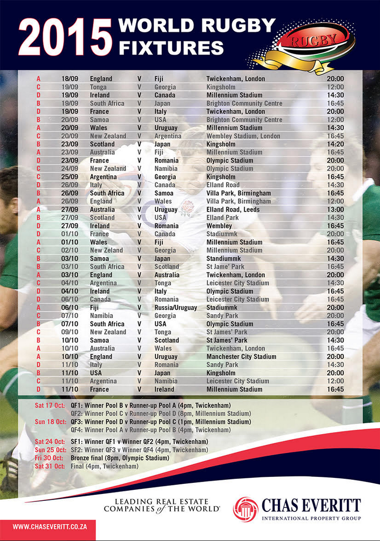 2015 Rugby World Cup Fixtures